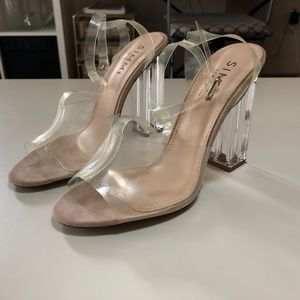 Simmi Shoes - Clear chunky heel peep-toe heels